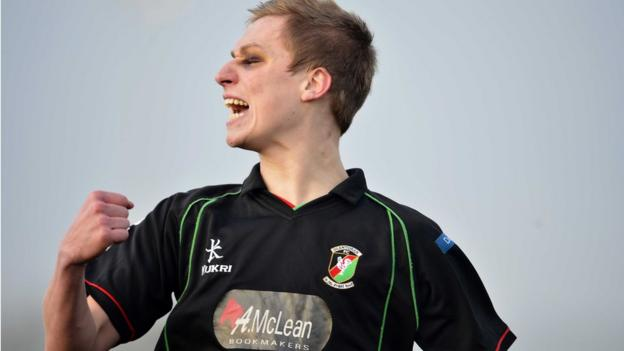 A delighted Calum Birney celebrates after his goal gives Glentoran the lead against minnows Killymoon Rangers in Cookstown