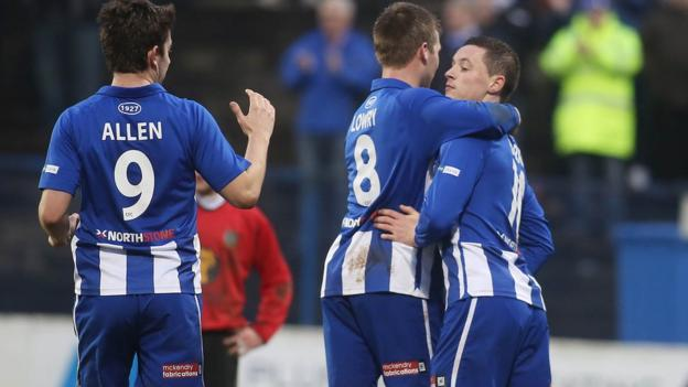 Ruairi Harkin is congratulated after scoring Coleraine's second goal in the 7-0 rout of Ballynahinch United.