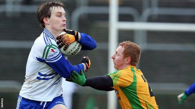 Monaghan's Ronan McNally and James Carroll of Donegal