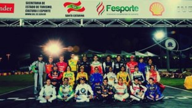 The line-up for Felipe Massa's go-kart competition in Brazil