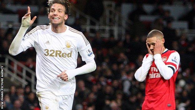 Michu scoring in Swansea City's 2-0 win at Arsenal