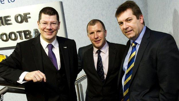 SPL chief executive Neil Doncaster, SFA chief executive Stewart Regan and SFL chief executive David Longmuir