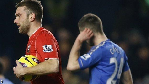 Rickie Lambert celebrates after pulling a goal back for Southampton