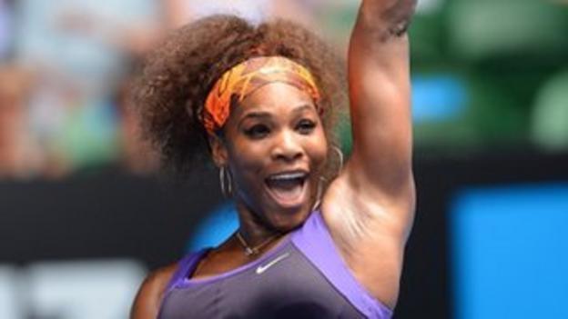 Serena Williams celebrates victory