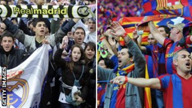 Real Madrid fans (left) & Barcelona fans