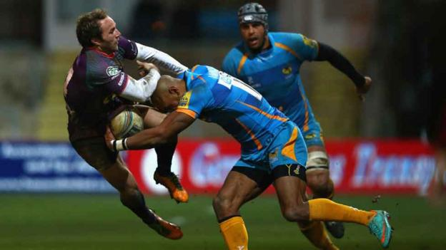 Will Harries takes a big hit from Tom Varndell