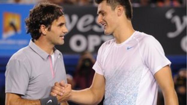 Roger Federer and Bernard Tomic