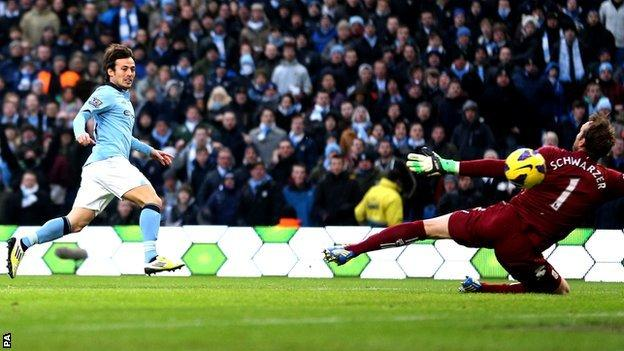 David Silva scores for Man City
