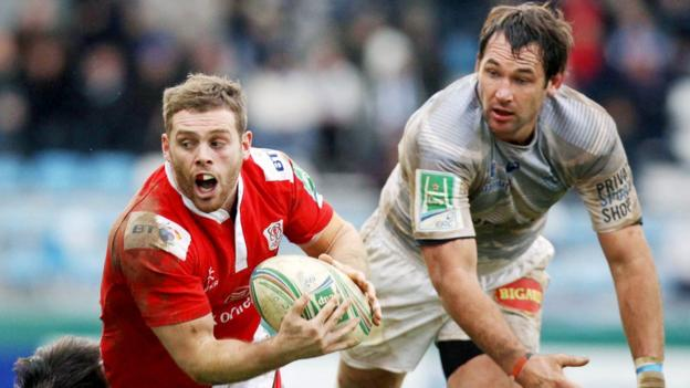 Ulster's Darren Cave and Castres number eight Pedrie Wannenburg