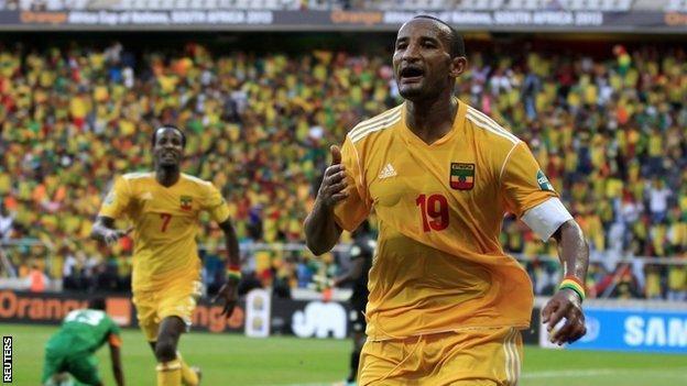 Ethiopia striker Adane Girma celebrates scoring the equaliser against Zambia