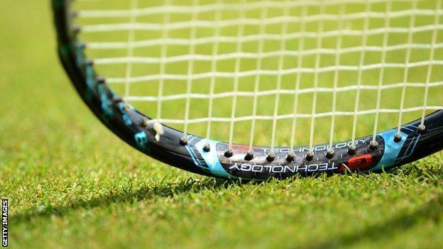 A tennis racquet