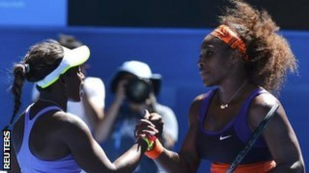 Sloane Stephens shakes hands with Serena Williams after beating her at the Australian Open