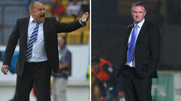 Finland manager Mixu Paatelainen and Northern Ireland manager Michael O'Neill