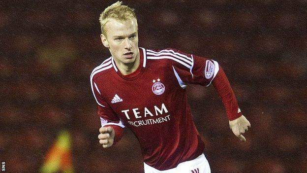 Aberdeen midfielder Jordon Brown, who has been sent to Forfar Athletic on loan