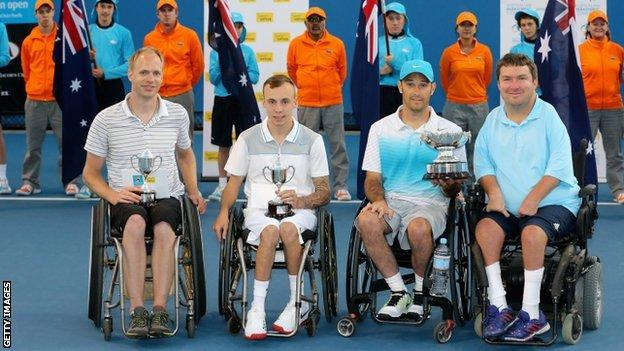 Lapthorne and Norfolk (left) were beaten in the men's quad doubles final