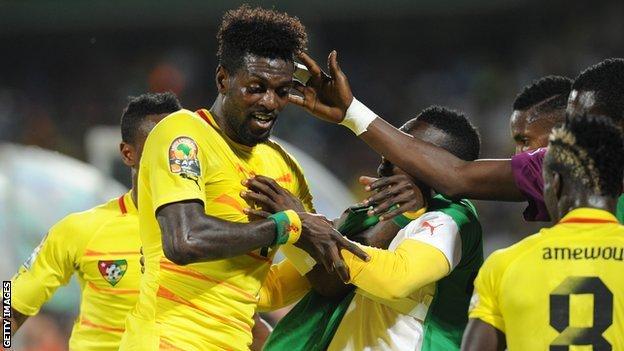 Togo's Emmanuel Adebayor celebrates with team-mates