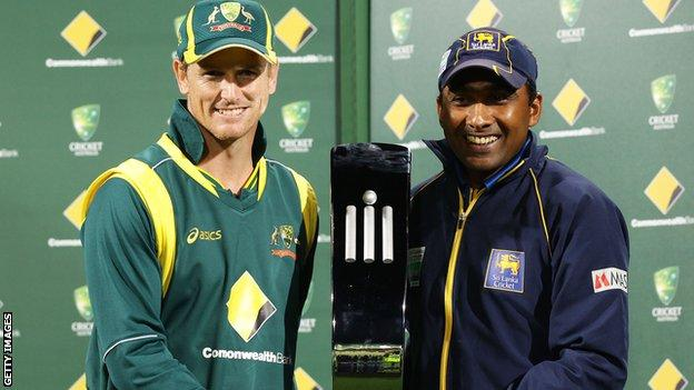 Captains George Bailey and Mahela Jayawardene with the one-day series trophy