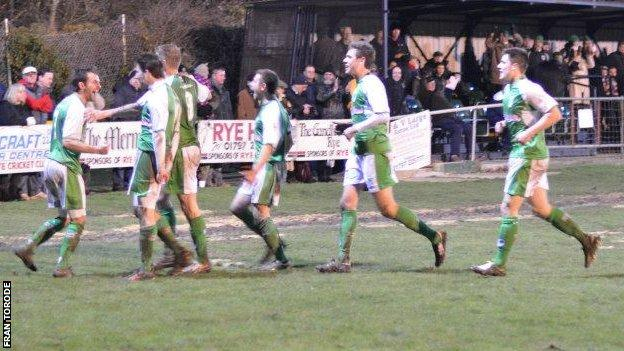 Guernsey FC celebrate Dave Rihoy's late winner