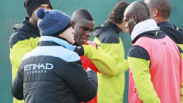 Roberto Mancini, Michah Richards and Mario Balotelli