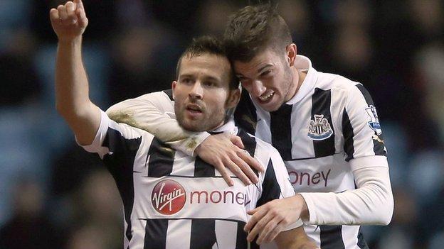 Yohan Cabaye celebrates scoring Newcastle's second goal