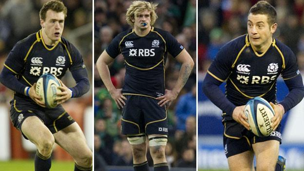 From left: Stuart Hogg, Richie Gray and Greig Laidlaw