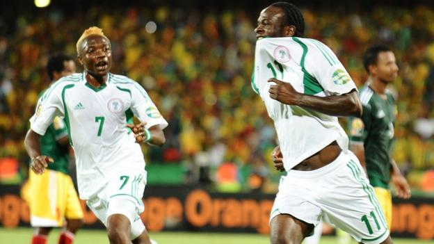 Nigeria's Victor Moses celebrates after scoring twice from the penalty spot against Ethiopia to put the Super Eagles through to the last eight