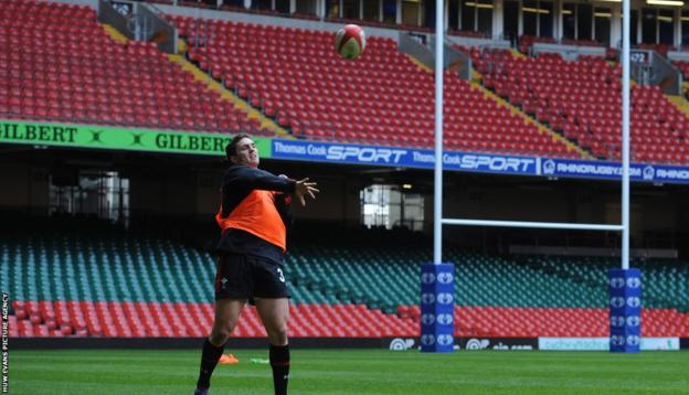 George North throws the ball during Wales' final training session ahead of their Six Nations opener against Ireland at the Millennium Stadium.