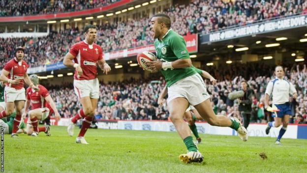 Ireland wing Simon Zebo runs in to score the first try against Wales in their Six Nations opener at the Millennium Stadium, Cardiff.