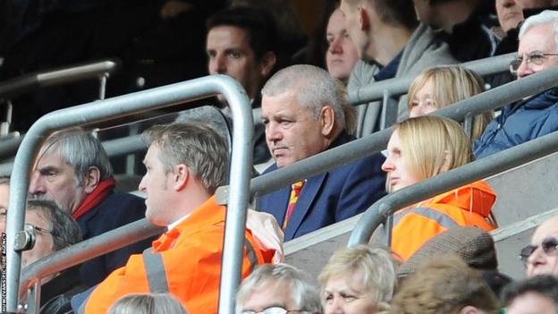 Wales coach Warren Gatland, on sabbatical as British and Irish Lions coach, looks on from the stands at the Millennium Stadium as Ireland lead 23-3 at half-time