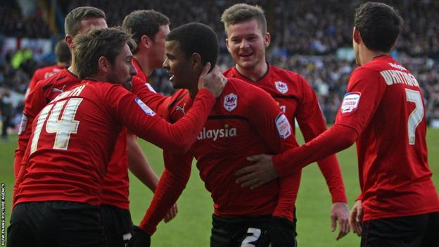 Substitute Frazier Campbell is congratulated by his new team-mates after scoring the goal which gave Cardiff a crucial 1-0 win at Elland Road.