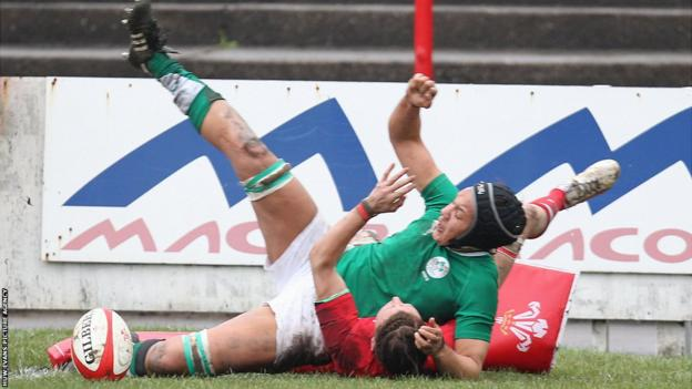 Ireland Women's Sophie Spence dives in to score a try as Wales Women lose 10-12 at Aberavon