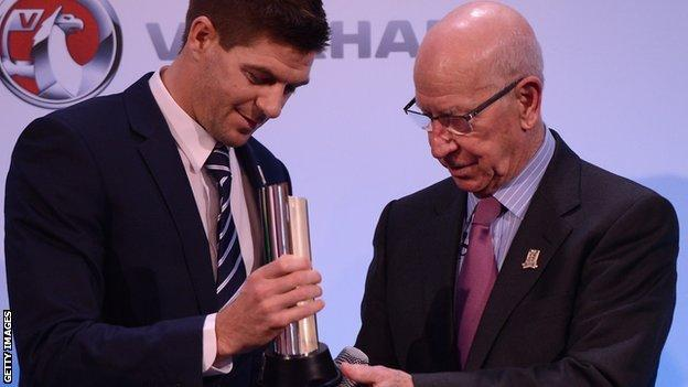 Steven Gerrard and Bobby Charlton