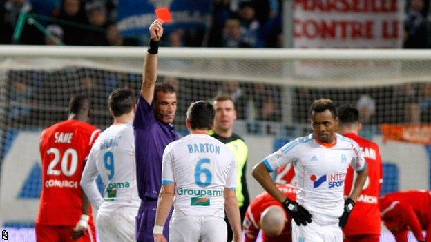 Olympic Marseille midfielder Joey Barton is sent off in his side's defeat by Nancy