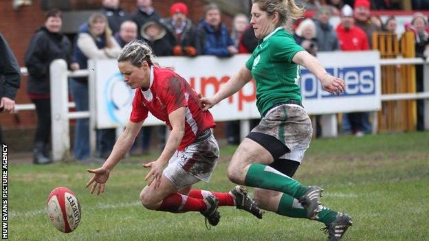 Wales' Caryl James was denied a try against Ireland