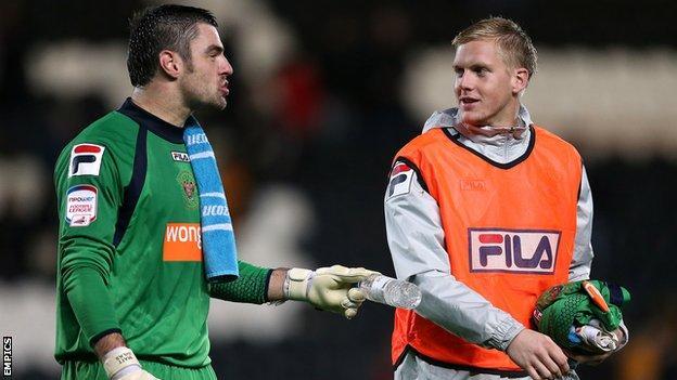 Blackpool goalkeepers Matt Gilks and Mark Halstead