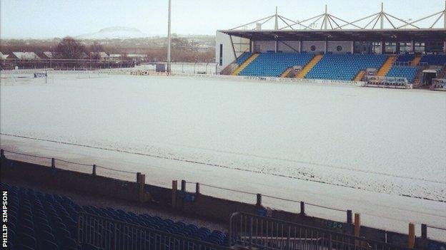 The snow-covered Ballymena Showgrounds on Tuesday morning