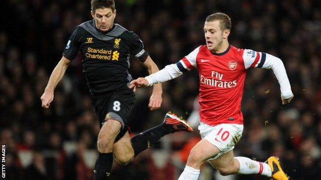Steven Gerrard (l) and Jack Wilshere