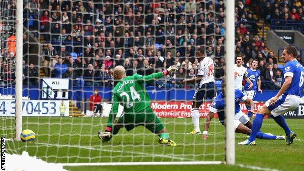Bolton Wanderers striker Marvin Sordell scores against Everton