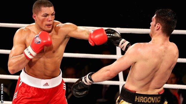 Joe Joyce of the British Lionhearts en route to victory over Filip Hrgovic