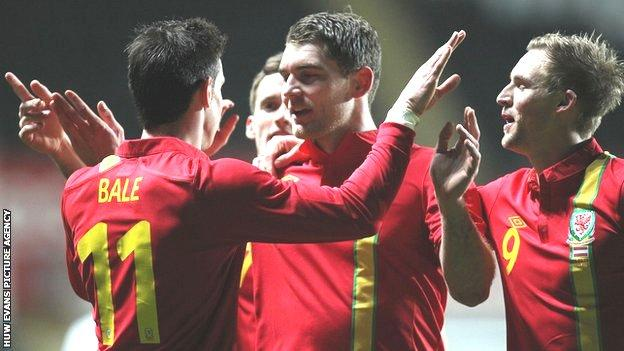 Wales celebrate victory over Austria