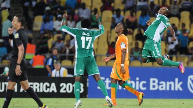 Nigeria celebrate their quarter-final victory over Ivory Coast