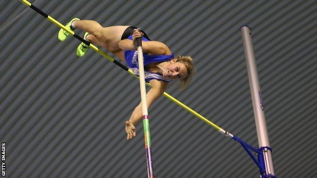 Holly Bleasdale soars over at the European Indoor Trials