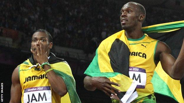 Johan Blake (left) and Usain Bolt at the London 2012 Olympics