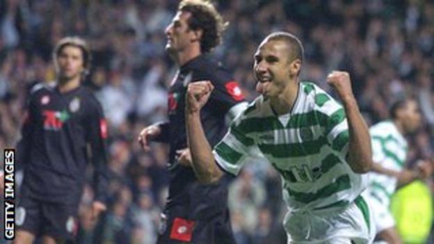 Henrik Larsson celebrates scoring in a 4-3 win over Juventus