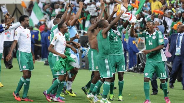 Nigeria celebrate after beating Burkina Faso 1-0 in Johannesburg to win the Africa Cup of Nations for the first time since 1994 - and for their third time overall