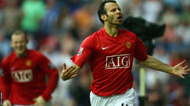 Ryan Giggs scores against Wigan Athletic during the 2007-08 season.