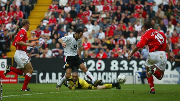 Ryan Giggs scores against Charlton Athletic during the 2002-03 season.