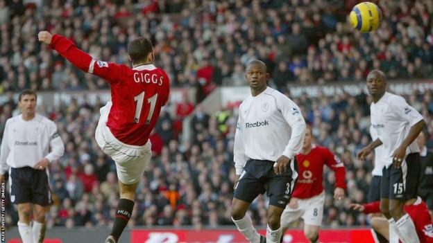 Ryan Giggs scores against Bolton Wanderers during the 2004-05 season.