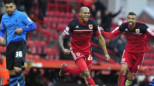 Marvin Elliott celebrates scoring against Nottingham Forest