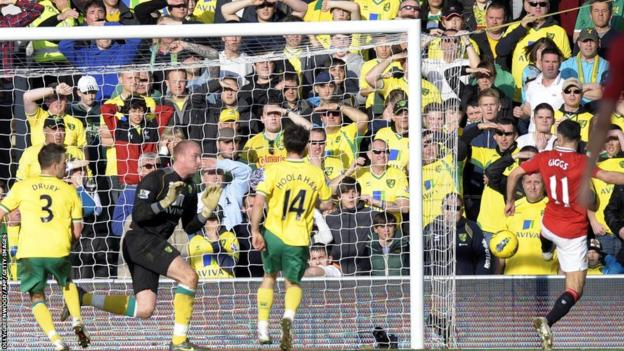 Ryan Giggs (right) scores against Norwich City during 2011-12 season.